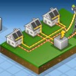 Stock Video: Isometric houses with solar panels in production of energy