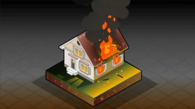 Isometric House on fire — Stock Video