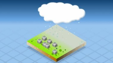 Isometric representation of natural disaster snow capped — Stock Video