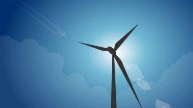 Production of energy through wind turbine — Stock Video