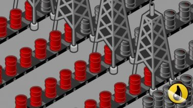 Oil towers in production of oil barrels — Stock Video