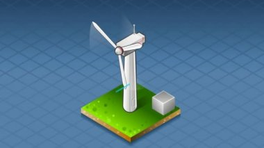 Isometric production and transport of energy through wind turbine — Stock Video