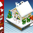 Stock Vector: Isometric christmas Snow Capped House