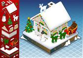 Isometric christmas Snow Capped House — Stock Vector