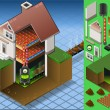 Isometric house with bio fuel boiler - Stockvectorbeeld