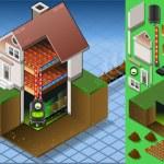 izometryczne dom z kotła na paliwo bio — Wektor stockowy