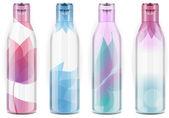 Vier plastic flessen met candid kleur — Stockvector