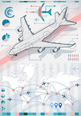 Infographic set elements with airplane in various colors — Stok Vektör