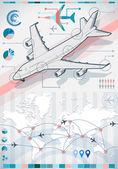 Infographic uçak elemanları çeşitli renk ayarlayın — Stok Vektör
