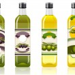 Stock Vector: Four olive oil bottles