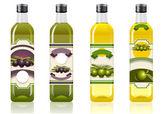 Four olive oil bottles — Stock Vector