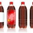 Four plastic bottles of cola with labels — Stock Vector