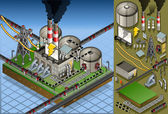 Pianta isometrica del petrolio nella produzione di energia — Vettoriale Stock