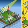 Isometric termo solar plant in production of energy - ベクター素材ストック