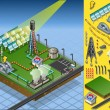 Isometric termo solar plant in production of energy - Image vectorielle