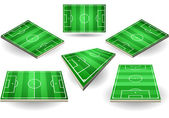 Set of Soccer fields in six different positions — Stock Vector