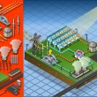 Isometric termo solar plant in production of energy - Stock Vector