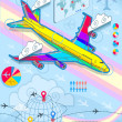 Stock Vector: Infographic set elements with airplane in raibow