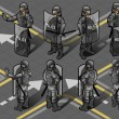 Isometric set of eight policemans standing - Stock Vector