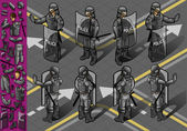 Isometric set of eight policemans standing — Stock Vector