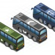 Aisometric set of military buses — Stock Vector