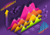 Isometric Infographic Histogram Set Elements in Various Colors — Stock Vector