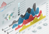 Infographic histogram set elements in various colors — Stock Photo