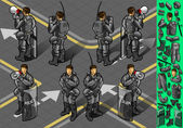 Isometric set of eight policemans standing — Stock Photo