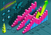 Isometric Infographic Histogram Set Elements in Various Colors — Stock Photo