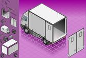 Isometric white refrigerator van — Stock Vector