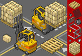 Isometric forklift in two different positions — Stock Vector