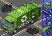 Isometric garbage truck — Stock Vector