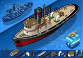 Isometric old tugboat — Stock Vector