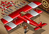 Isometric Red Biplane Landed in Rear View — Stock Vector