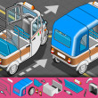 Isometric Italian Rickshaw in Rear View — Stock Vector