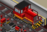 Isometric Red Train in Front View — Stock Vector