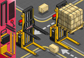 Isometric Forklift in Two Positions — Stock Vector