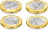 Conjunto completo de moedas de um euro — Vetorial Stock