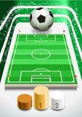 与足球球和讲台上的足球场 — 图库矢量图片