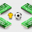 Set of Soccer Penalty Area and Icons — Stock Vector