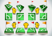 Set of Soccer Corner and Icons — Stock Vector