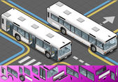 Isometric Bus with Opened Doors — Stock Vector