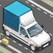 Isometric White Pickup Van with Tarpaulin — Imagen vectorial