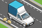 Isometric White Pickup Van with Tarpaulin — Cтоковый вектор