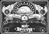Vintage Graphic Blackboard for Chicken Menu — Stock Vector