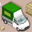 Isometric van with tarpaulin in front view — Imagen vectorial