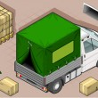 Isometric van with tarpaulin in rear view — Imagen vectorial