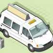 Isometric van taxi in front view - Stock Vector