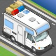 Isometric camper in front view — Stock Vector