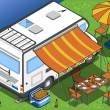 Isometric camper in camping in rear view — Stock Vector #24922721